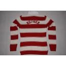 Tommy Hilfiger Pullover Fleece Sweatshirt Sweater Streifen Stripes Rot Weiß M