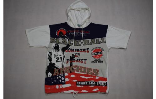 Vintage Basketball Kapuzen Hoodie T-Shirt Sport Top 90s 90er Black Ball Spirit S