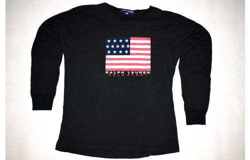Polo Sports T-Shirt TShirt Ralph Lauren Vintage Oldschool USA Flag Longsleeve L