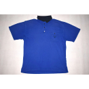Carlo Colucci Polo Shirt Oldschool Vintage Rap Hip Hop Blau Blue Casual Clean L