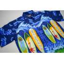 Surf Board Hemd Button Down Shirt Hawaii Palmen Palm Tree...