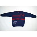 Strick Pullover Pulli Sweater Knit Sweatshirt Vintage 90er Grafik Blau 48/50  L