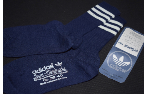 Adidas Socken Socks Sox Plüsch Sport Vintage West Germany Blau Weiß 39-40  NEU