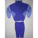 Trainings Anzug Sport Track Jump Suit Nylon Glanz Shiny Fasching Karneval Lila M