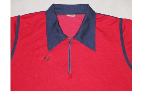 Erima Trikot Jersey T-Shirt Polo Poloshirt Vintage West Germany red blue 7 M-L