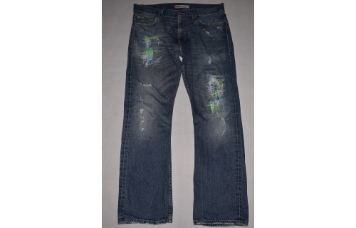 Levis Jeans Hose Levi`s Pant 506 Denim Red Lining Neon Custom made W 34 L 32